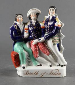 "Staffordshire figur; ""Death of Nelson"""