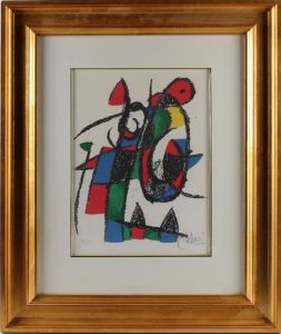 Joan Miro (1893-1983): Komposition, litografi
