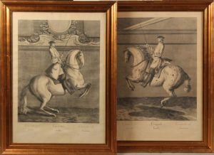 "Johann Elias Ridinger (1698-1767): ""Croupade links"" og ""Courbetten rechts"" (2)"