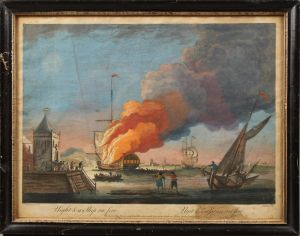Efter Peter Monamy (1681-1749): Night and a ship on fire