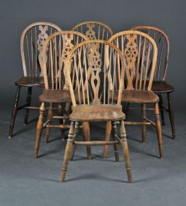 Seks Pubstole/Wheelback chairs (6)