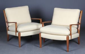 Norell: To loungechairs af mahogny