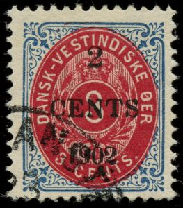 AFA 18B: 1902. Provisorium, 2/3 Cents, 9. tryk, position 50. ISOLERET RET RAMME. Stemplet CHRISTIANSTED ►