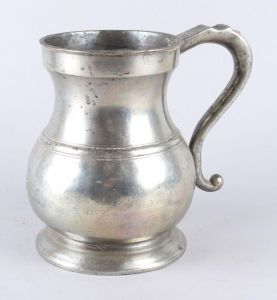 Victoriansk engelsk tinkrus, 1/2 Imperial gallon krus