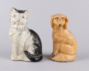 5bc1ca15 To sparebøsser i form af hund og kat i keramik