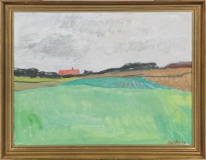 Axel P. Jensen (1885-1972): Landskab under sort himmel