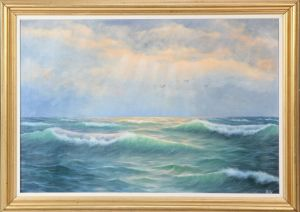Wolmer Zier (1910-1990): Fugle over havet, solnedgang