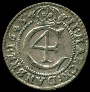 Norge, Christian IV: 2 Mark 1645, Hede 19, NM 114