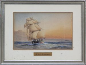 "William Friderick Mitchell (1845-1914): Akvarel: H. M. S. ""Emerald"""