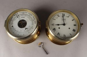 Stockburger: Skibsur samt barometer, messing (2)