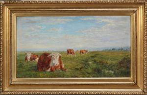 William II Luker (1867-1951): Red Herefordshire cattle at rest
