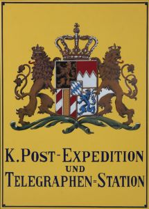 Emaljeskilt K. Post-Expedition Telegraphen Station 500 Jahre Post