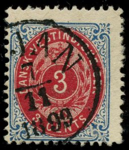 AFA 6By: 1896. Tofarvet, 3 Cents, 9.Tryk ►