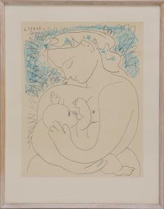 Pablo Picasso (1881-1973): Ammende moder, tryk