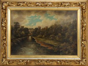H. Thompson: Warwick Castle ved River Avon