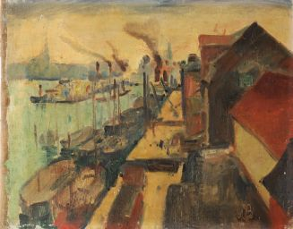 Willy Bille (1889-1944): Udsigt over havn og huse